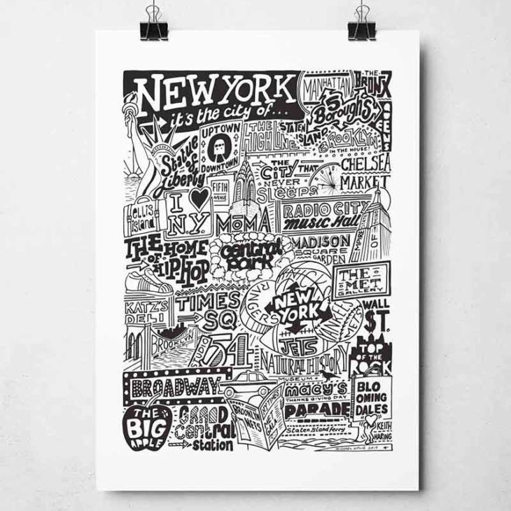 New York City Landmarks Print from Sketchbook Design