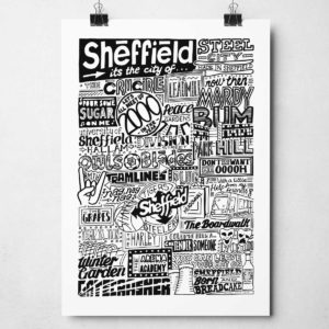 Sheffield Landmarks Print Hand-drawn typography artwork from Sketchbook Design