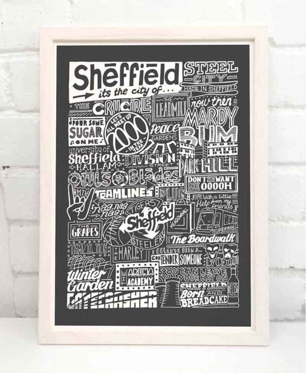 Sheffield Landmarks Print Hand-drawn typography artwork from Sketchbook Design
