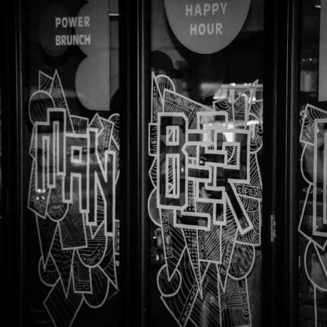 Live art window illustrations at Common Bar Manchester