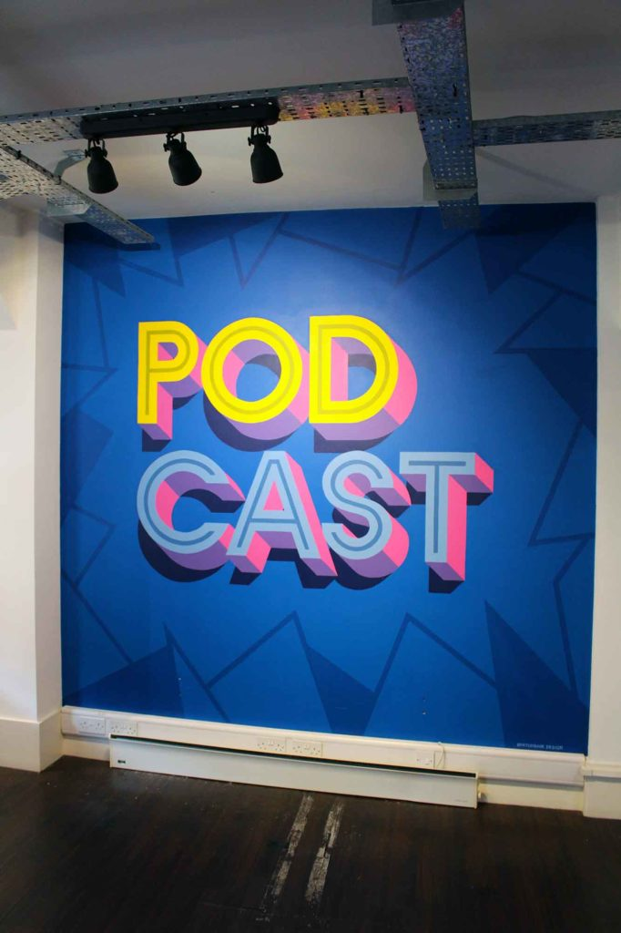 Podcast wall mural at Podcast.co in Manchester