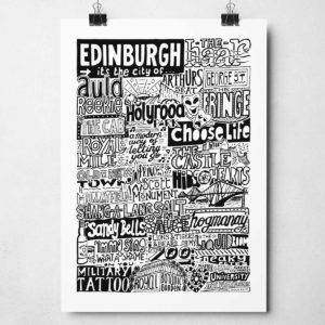 Edinburgh Landmarks Print from Sketchbook Design. Edinburgh Typography Print.