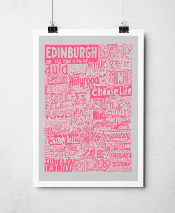 Edinburgh Landmarks Print from Sketchbook Design. Edinburgh Typography Print.