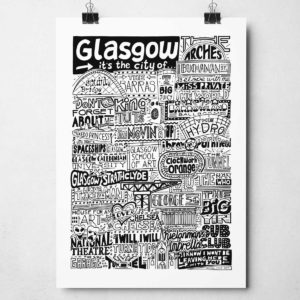 Glasgow Landmarks Print from Sketchbook Design. Glasgow Typography Print.