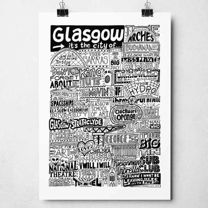Glasgow Landmarks Print from Sketchbook Design. Glasgow Typography Print.