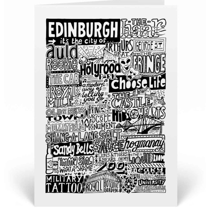 Edinburgh Landmarks Greetings Card Edinburgh Birthday Card