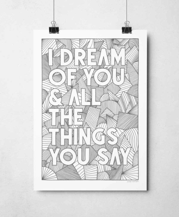 I Dream of You Print from Sketchbook Design Hand drawn typography prints