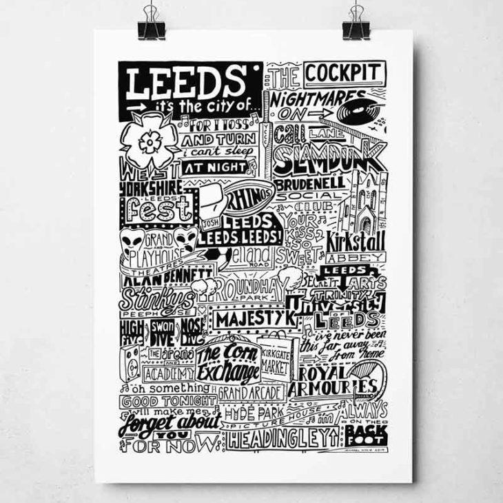 Leeds Landmarks Print Hand-drawn typography print from Sketchbook Design