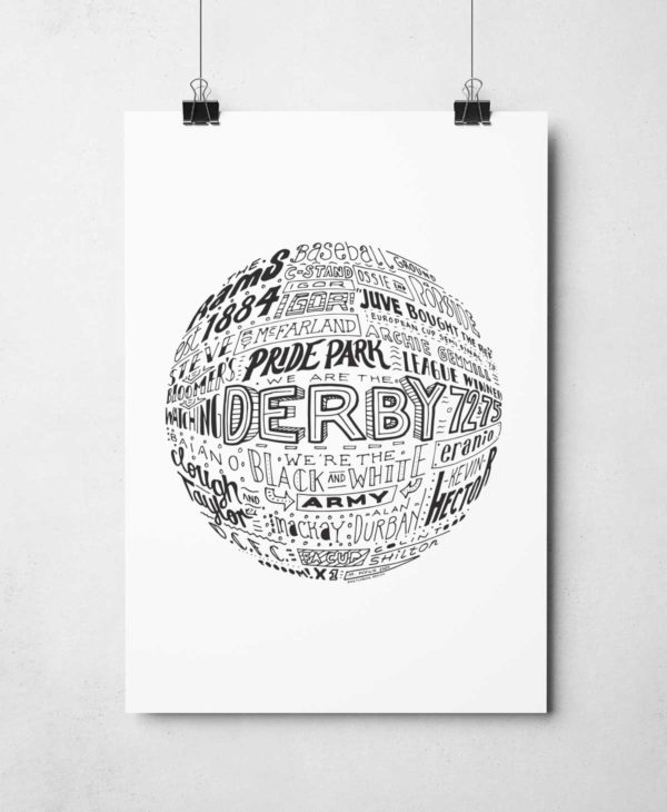 Derby County Football Print by Sketchbook Design Hand-drawn football wall art inspired by this history of Derby County