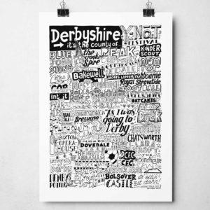 Derbyshire Landmarks Print by Sketchbook Design Hand-drawn Derbyshire illustration