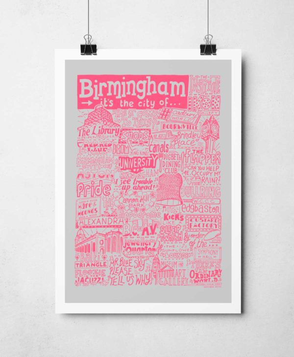 Birmingham Print by Sketchbook Design Hand-drawn Birmingham Poster for your home featuring iconic landmarks.