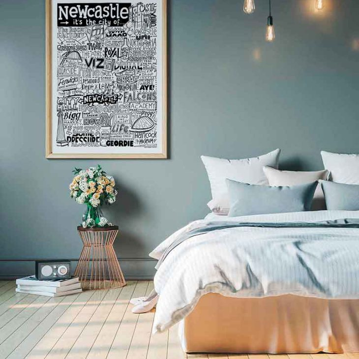 Newcastle Print by Sketchbook Design. Hand-drawn Newcastle Poster featuring iconic landmarks. Prints available framed or unframed