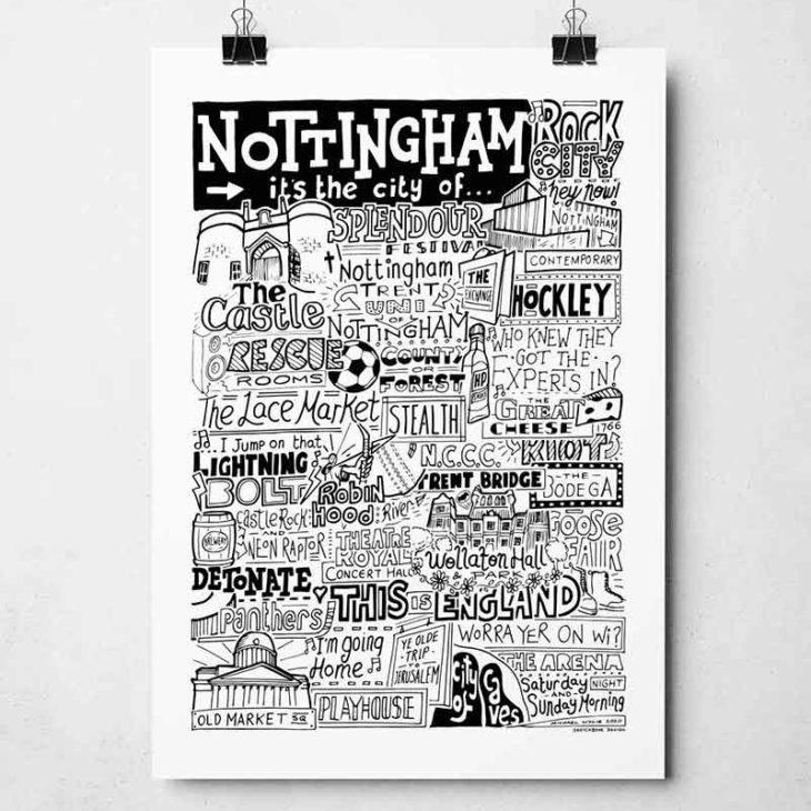 Nottingham Print by Sketchbook Design Hand-drawn Nottingham Poster featuring iconic landmarks. Print available framed or unframed