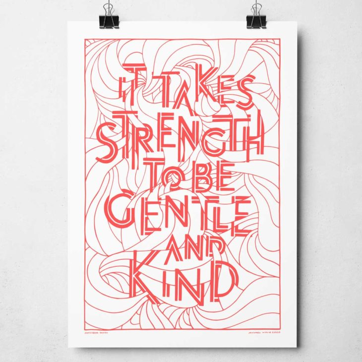 Hand-drawn Gentle and Kind Print by Sketchbook Design