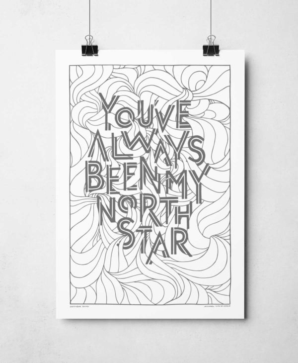 You've always been my North Star Print | Hand-drawn art print from Sketchbook Design | North Star Quote Print