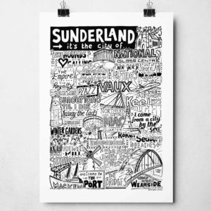 Sunderland Print by Sketchbook Design | The hand-drawn Sunderland Poster that features iconic landmarks is available framed or unframed.