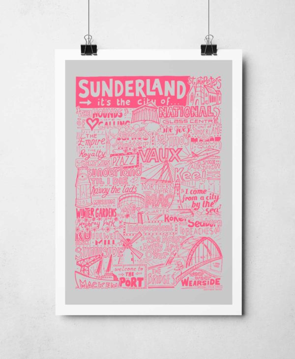 Sunderland Print featuring landmarks people and places from the city. Sunderland poster is part of our cities and places range.