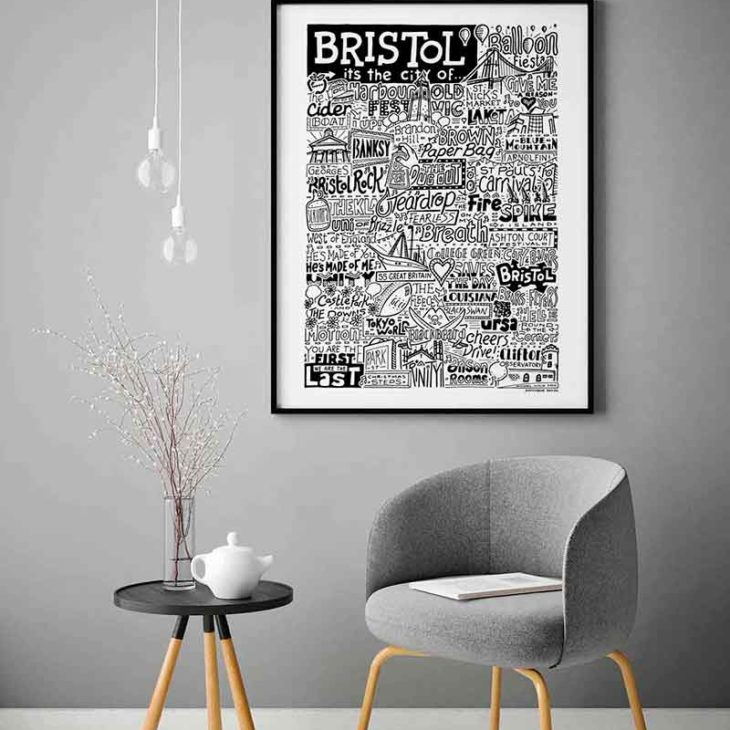 Bristol Print by Sketchbook Design Hand-drawn Bristol Poster featuring iconic landmarks. Print available framed or unframed