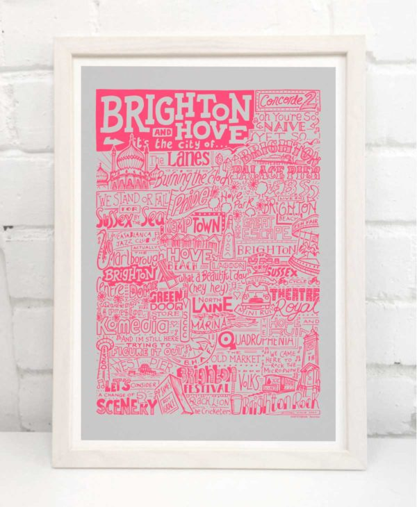 Brighton Print by Sketchbook Design Hand-drawn Brighton and Hove Poster featuring iconic landmarks. Print available framed or unframed