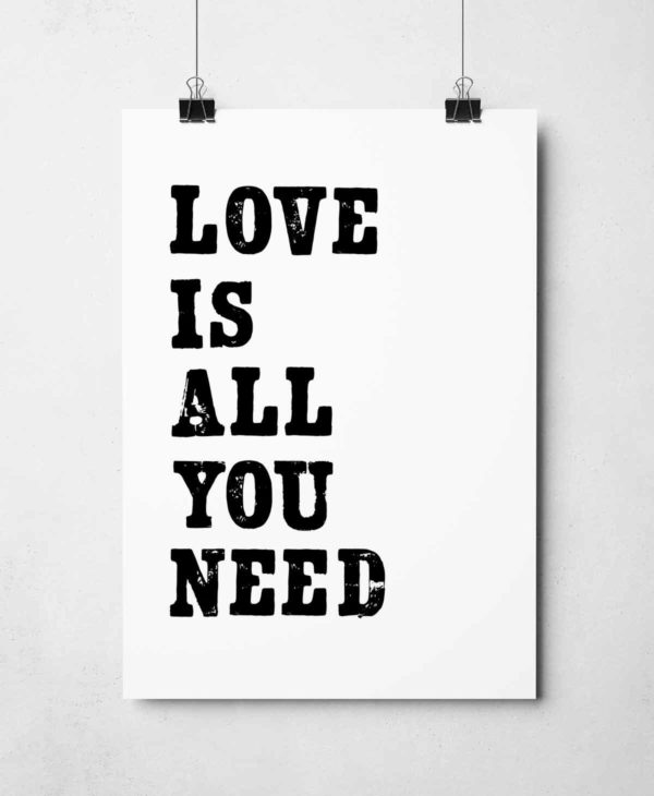 Love Is All You Need Print by Sketchbook Design. Hand-made letterpress prints.