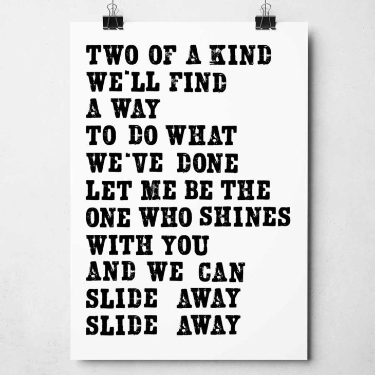 Slide Away Print by Sketchbook Design Hand-printed letterpress prints inspired by song lyrics