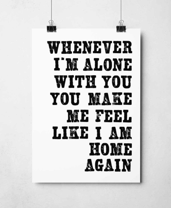 Alone With You Print by Sketchbook Design Hand-printed letterpress prints inspired by song lyrics