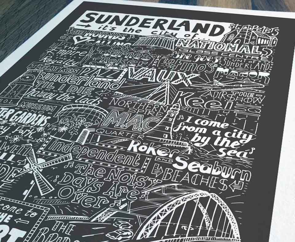 About Us Sketchbook Design. Sunderland print close up