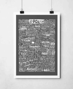 1990s Film Print by Sketchbook Design. Hand-drawn 90s Movie poster featuring inspiration from some of the best 90s films and movies