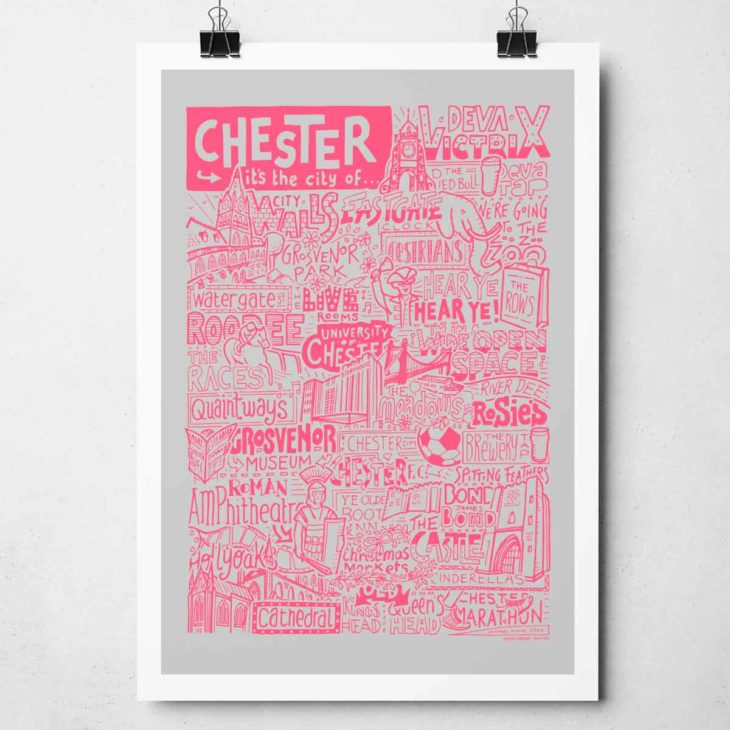 Chester Print by Sketchbook Design Hand drawn Chester Poster featuring iconic landmarks. Print available framed or unframed