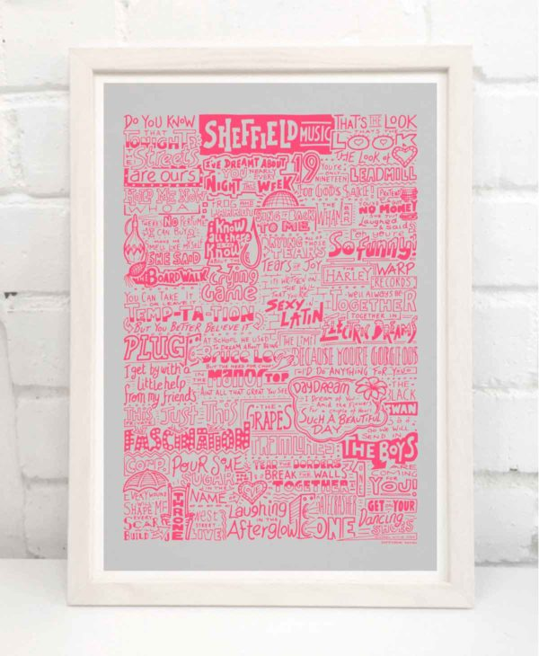 Sheffield Music Print. Hand Drawn Sheffield Bands print from Sketchbook Design.