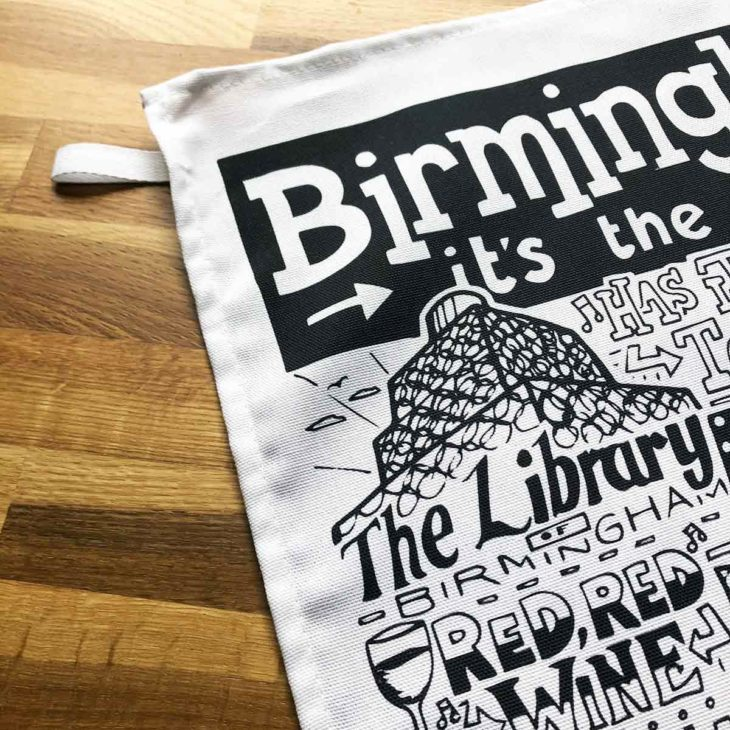 Birmingham Tea Towel featuring ur hand-drawn Birmingham illustration