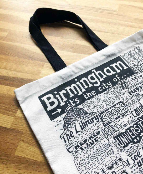 Birmingham Tote Bag from Sketchbook Design featuring our hand-drawn Birmingham illustration