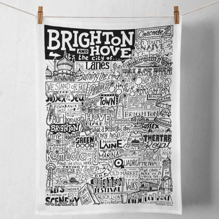Brighton Tea Towel featuring ur hand-drawn Brighton illustration