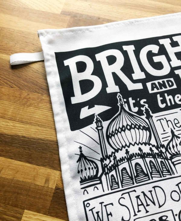 Brighton Tea Towel featuring ur hand-drawn Brighton illustration