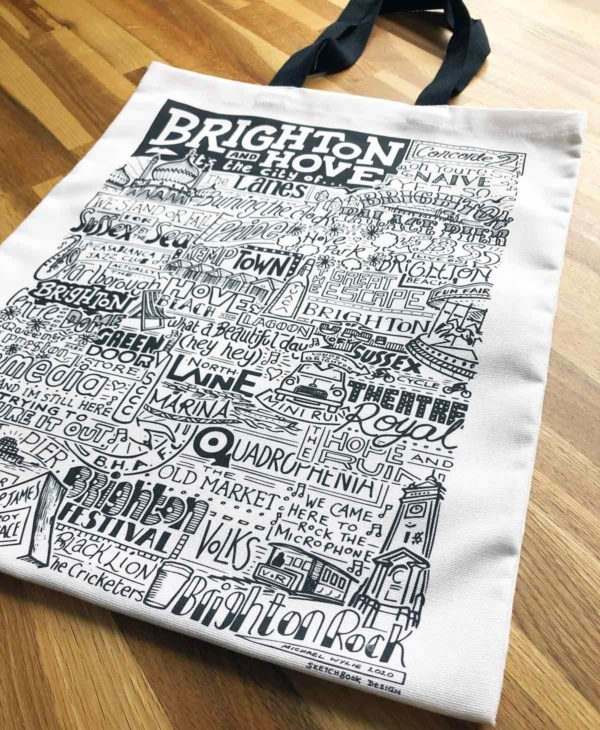Brighton Tote Bag from Sketchbook Design featuring our hand-drawn Brighton illustration