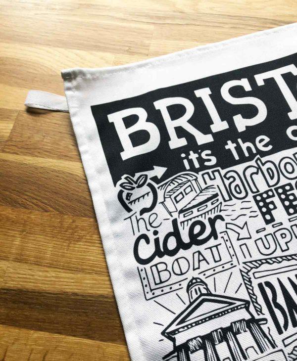Bristol Tea Towel featuring ur hand-drawn Bristol illustration