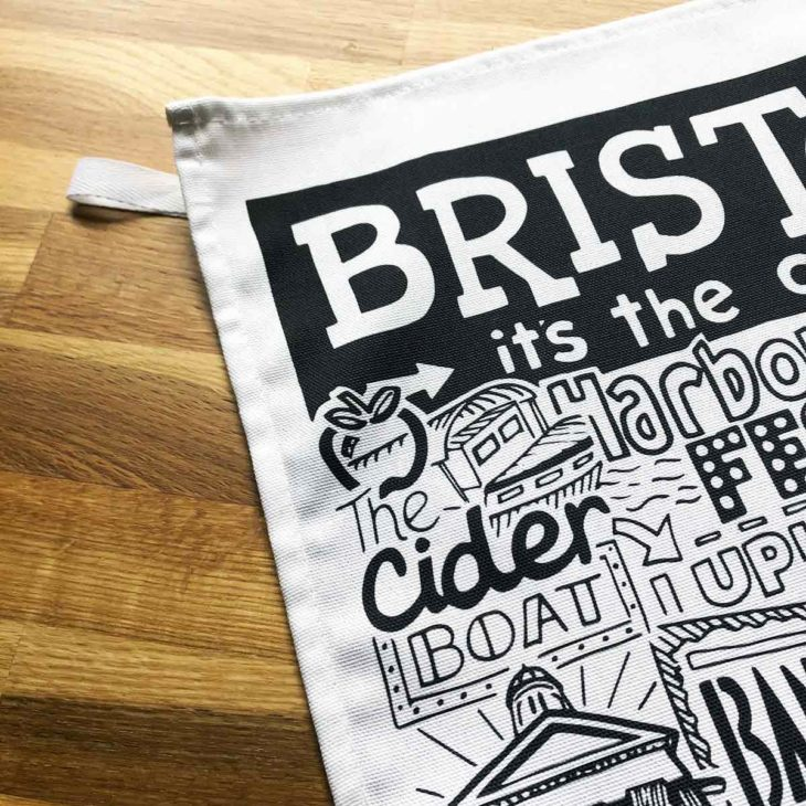 Bristol Tea Towel featuring ur hand-drawn Bristol illustration