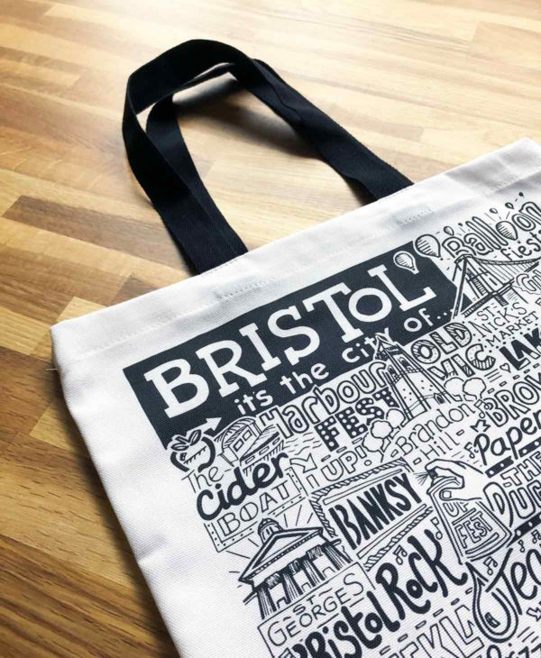 Bristol Tote Bag from Sketchbook Design featuring our hand-drawn Bristol illustration