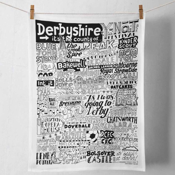 Derbyshire Tea Towel featuring ur hand-drawn Derbyshire illustration