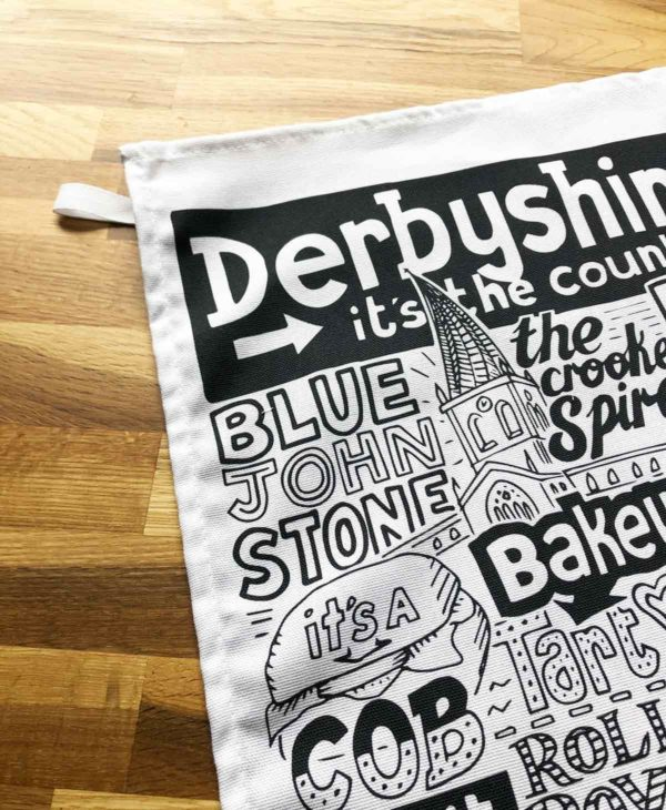 Derbyshire Tea Towel featuring ur hand-drawn Derbyshire illustration