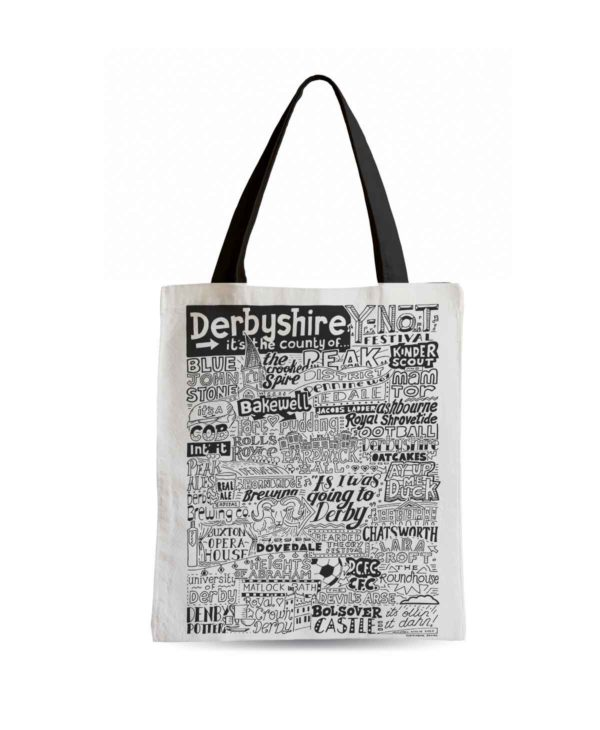 Derbyshire Tote Bag from Sketchbook Design featuring our hand-drawn Derbyshire illustration