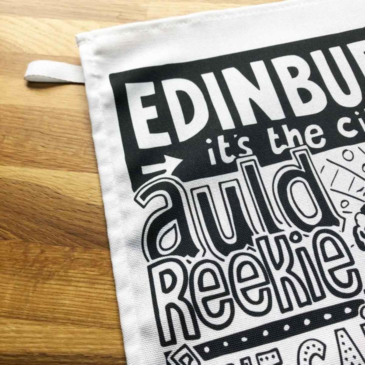 Edinburgh Tea Towel featuring ur hand-drawn Edinburgh illustration