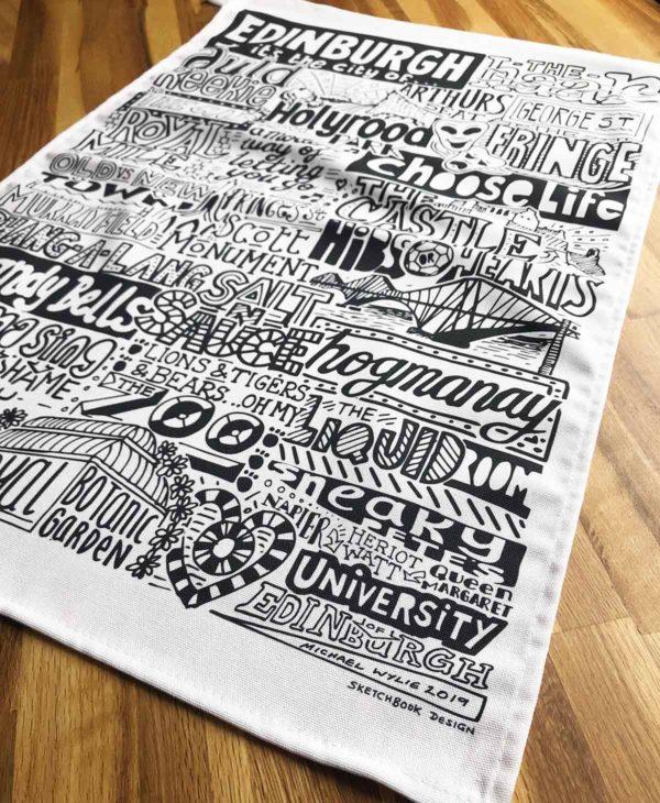 Edinburgh Tea Towel featuring ur hand-drawn Edinburgh illustration