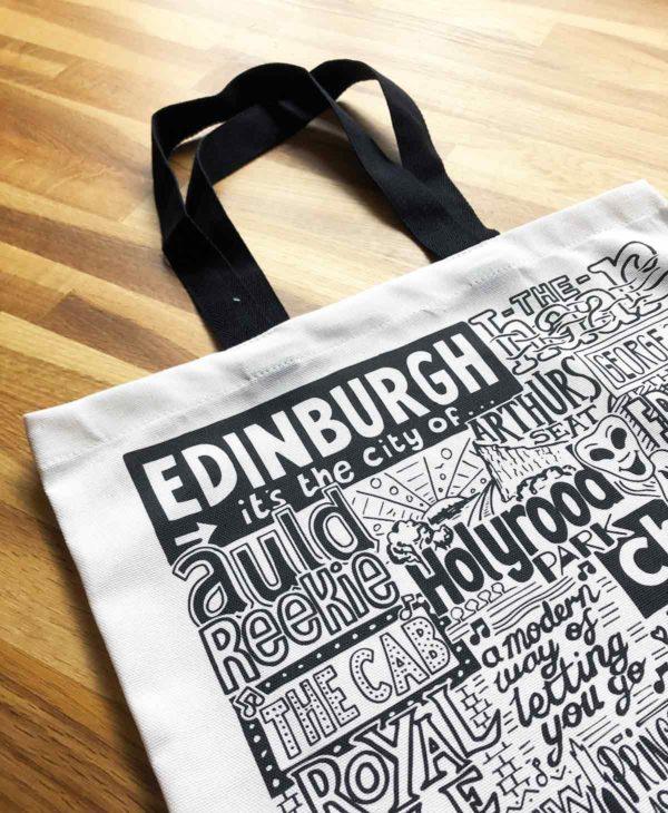 Edinburgh Tote Bag from Sketchbook Design featuring our hand-drawn Edinburgh illustration