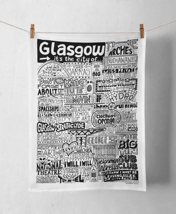 Glasgow Tea Towel featuring ur hand-drawn Glasgow illustration