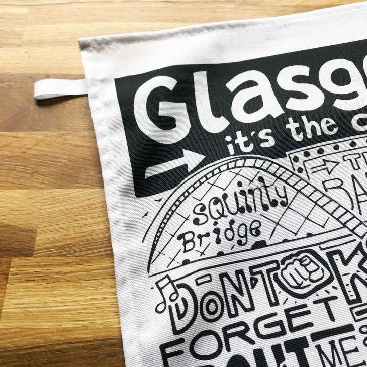 Glasgow Tea Towel featuring ur hand-drawn Glasgow illustration