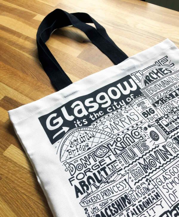 Glasgow Tote Bag from Sketchbook Design featuring our hand-drawn Glasgow illustration