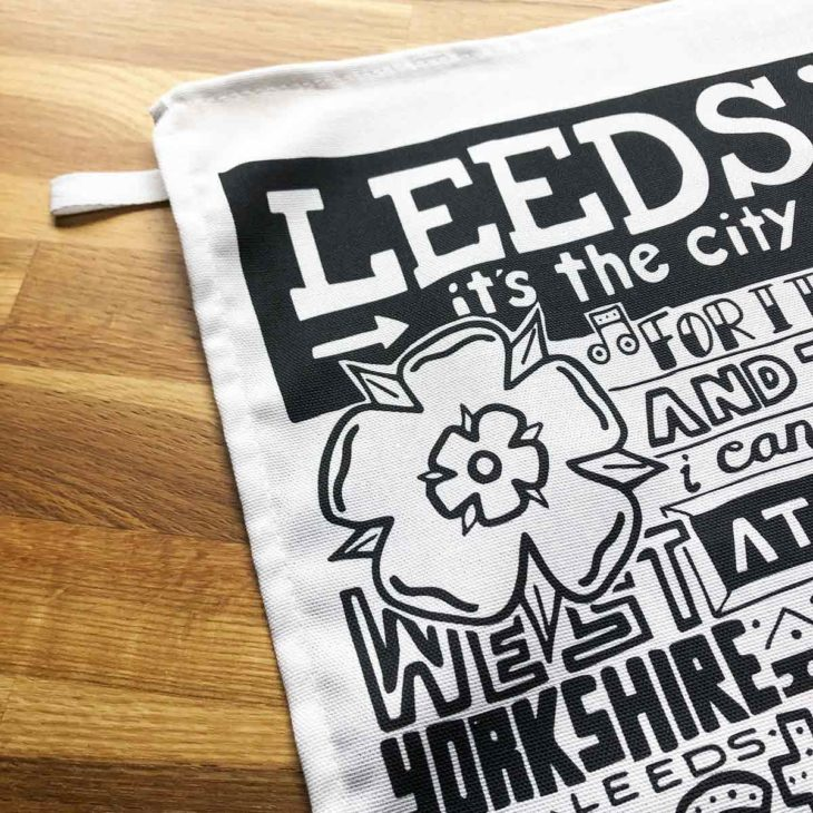 Leeds Tea Towel featuring ur hand-drawn Leeds illustration