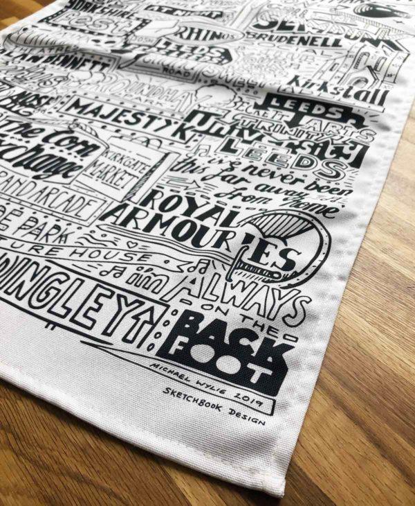 Leeds Tea Towel featuring ur hand-drawn Leeds illustration