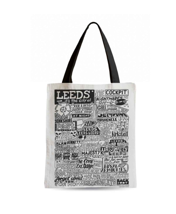 Leeds Tote Bag from Sketchbook Design featuring our hand-drawn Leeds illustration